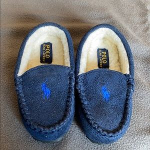 Ralph Lauren house slipper for toddler horse navy